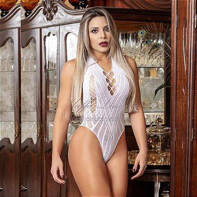 Body Frente Única com Detalhes nos Seios - Cor: Branco - Tamanho: Único | Y1060