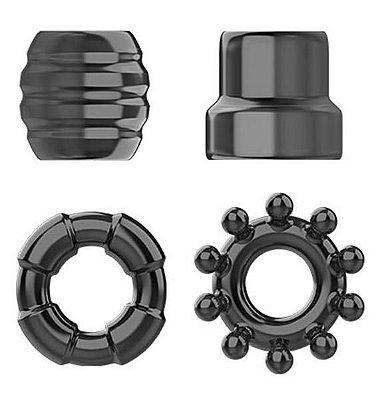COCK RING SET- Kit com 4 anéis penianos