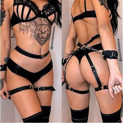 STILLO SEX - Harness com Bracelete e Detalhes em Prata - Cor: Preto| NSC184V