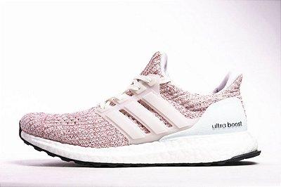 3aa92a7e89e08 Tênis Adidas Ultraboost 4.0 Feminino - Rosa e Branco