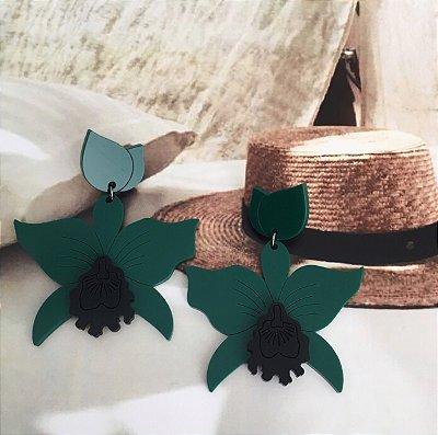 Brinco Orquídea Verde com Preto