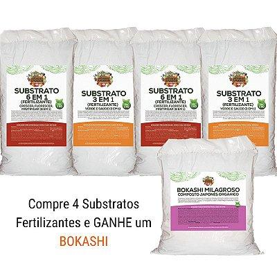 Combo Compre 4 Substratos Fertilizantes e Ganhe um Bokashi Milagroso