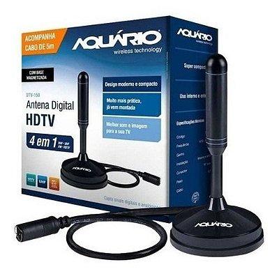 Antena Digital Hdtv 4 Em 1vhf Uhf Fm Hdtv 4k Dtv-150 Aquario