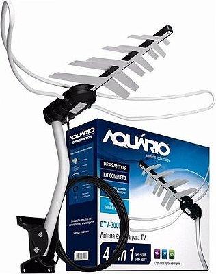 Antena Externa Dtv-3000 Uhf Hdtv Vhf Fm Aquario 16m Full Hd