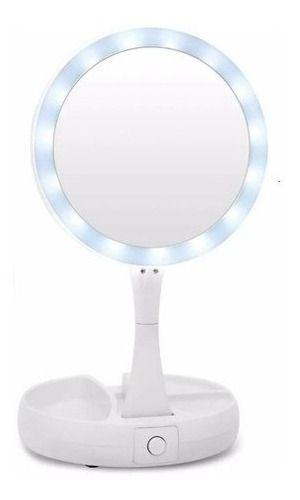 Espelho Luz Led Iluminador Mesa Maquiagem Portátil Aumento