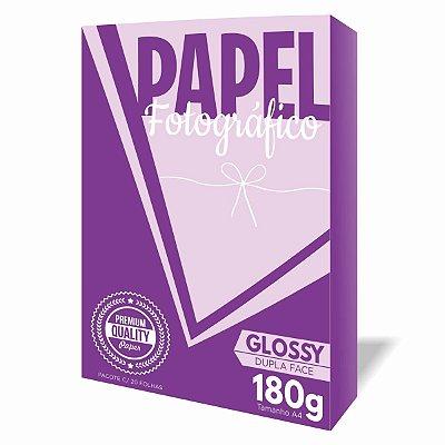 Papel Fotográfico Dupla Face Glossy Brilho 180g A4 - Pacote c/20 Folhas - Qualidade Premium