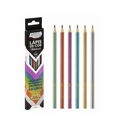 Lapis 6 Cor Metalizado Madeira - 6 Cores Metalizadas Premium