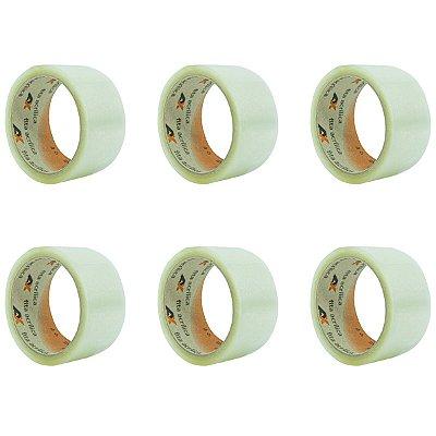 Pacote de Fita Adesiva Transparente Larga 45mm X 40m para Embalagem - Pacote com 6 Unidades