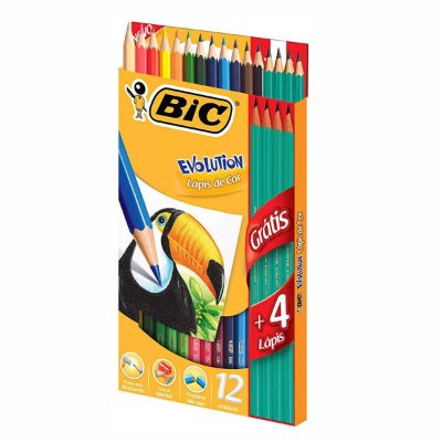 Kit Lápis de Colorir 12 Cores + Lápis Escrever BIC Evolution