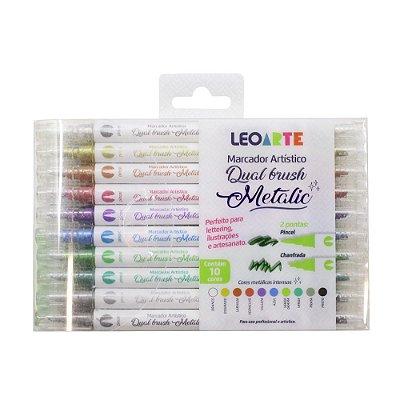 Marcador Artístico Dual Brush Metálico 10 cores p/ Lettering