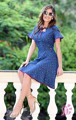 Vestido Jeans Floral Com Babado Sol Da Terra Moda Evangelica