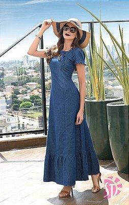 Vestido Jeans Longo Sol da Terra Roupas Evangelicas Moda Evangelica