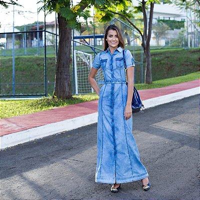 Vestido Jeans  Longo Plus Size Moda Evangelica