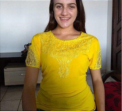 Blusa Camisa De Malha Com Renda Amarela Moda Evangelica
