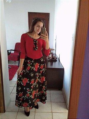 Vestido Em Malha E Crepe Longo Roupas Evangelicas Rodado