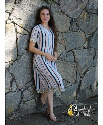 Vestido Listrado com Detalhes Roupas Evangelicas