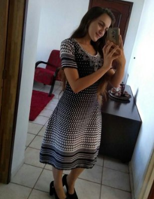 Vestido De Linho Poá Com Manga Moda Evangelica