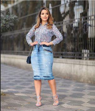 Saia Jeans Midi com Detalhes Evangelicas