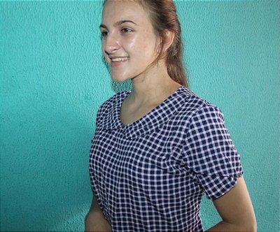 Blusa De Crepe Xadrez Vintage Moda Evangélica