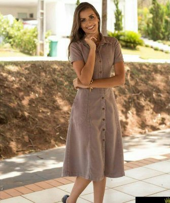 Vestido Midi Longuete Jeans Tencel Evase Roupa Evangelica