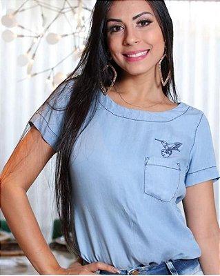 Blusa Jeans Tencel Bordada Roupas Evangelicas