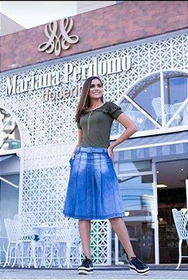 Saia Jeans Midi Plus Size Com Cinto Moda Evangelica