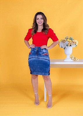 Saia Jeans Midi Com Detalhes Em Vermelho Roupas Evangelicas