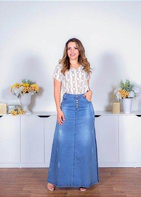 Saia Jeans Longa Destroyed Com Bolsos Moda Evangélica