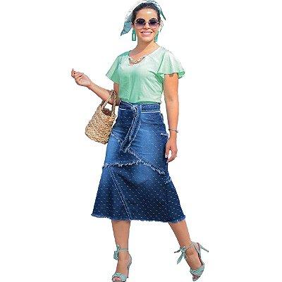 Saia Jeans Midi Desfiada Moda Evangélica