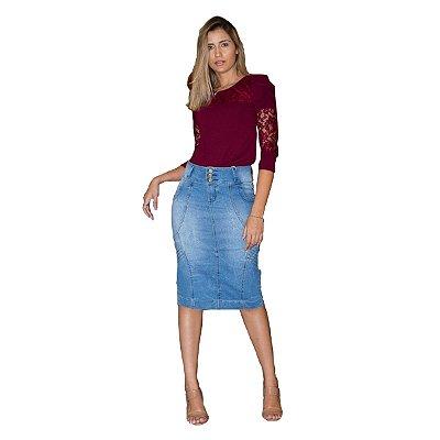 Saia Jeans Longuete Plus Size Moda Evangélica