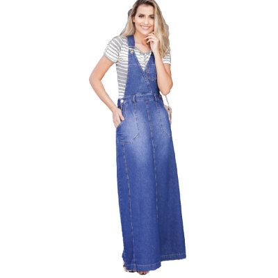Salopete Jeans Longa Com Bolsos Moda Evangélica