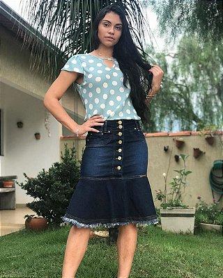 Saia Jeans Midi Peplum Elastano Roupas Femininas Evangelicas