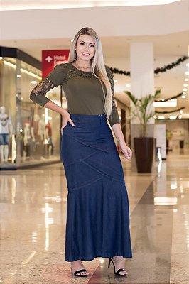 Saia Jeans Longa Evangelica Moda Feminina