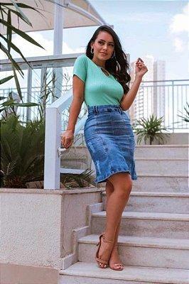 Saia Evangelica Midi Jeans Destroyed Elastano Moda Feminina