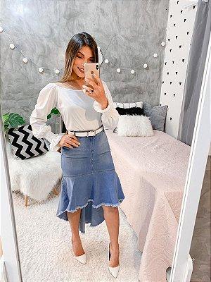 Saia Jeans Midi Mullet Feminina Desfiada Roupas Evangelicas