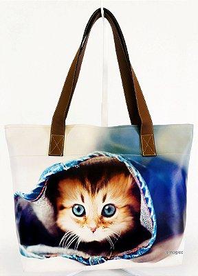 Bolsa Feminina Impermeável com Estampa Pet Gatinho