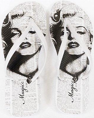 Chinelo Feminino Vintage Branco e Preto
