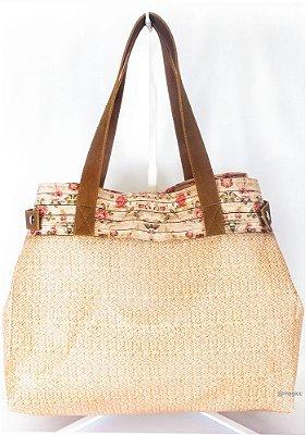 Bolsa Feminina Impermeável com Barrado Floral e Alça Marrom