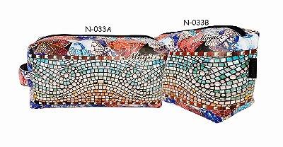 Necessaire Feminina Mosaico Colorido Impermeável