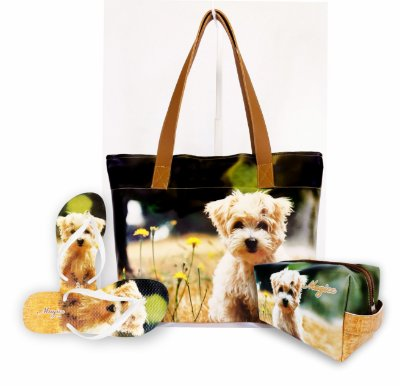 Kit Feminino Pet Cachorrinho-Bolsa + Necessaire + Chinelo Antiderrapante