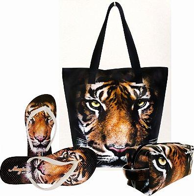 Kit Feminino com Estampa Tigre Bolsa + Necessaire + Chinelo Antiderrapante