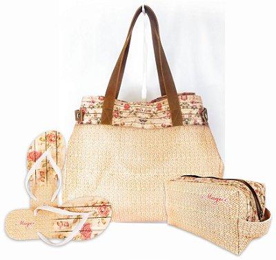 Kit Feminino - Bolsa + Necessaire + Chinelo com Barrado Floral