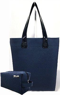Kit Feminino - Bolsa + Necessaire na Cor Azul Marinho com Flores em Alto Relevo