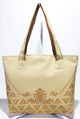 Bolsa Feminina Marfim com Arabesco Caramelo Forrada
