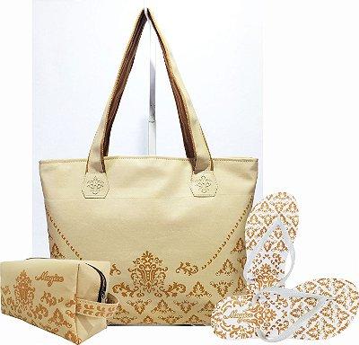 Kit Feminino Marfim com Arabesco Caramelo Bolsa + Necessaire + Chinelo Antiderrapante - Magicc