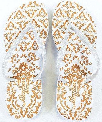 Chinelo Feminino Branco com Arabesco Marfim
