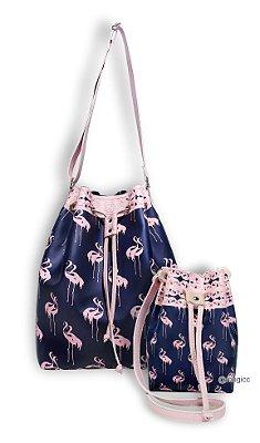 Kit Bolsas Tal Mãe Tal Filha Estampada com Flamingos Rosa