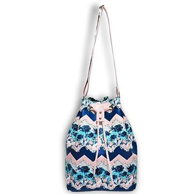 Bolsa Saco Estampada Azul e Rosa com Alça Rosa, Magicc