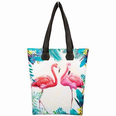 Bolsa Praia Impermeável com Estampa Flamingos, Magicc