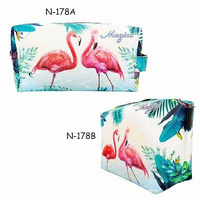 Necessaire Feminina com Estampa Flamingos, Magicc